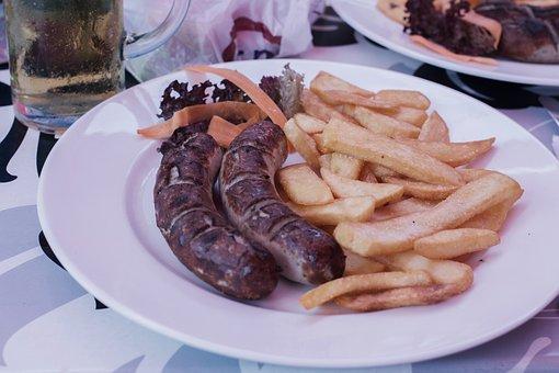 Sausage, Bratwurst, French Fries, German Wurst