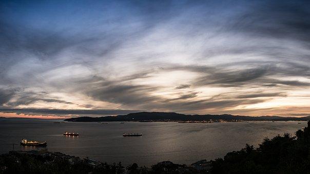Sunset, Gibraltar, Algeciras, Boats, Ships, Sky, Clouds