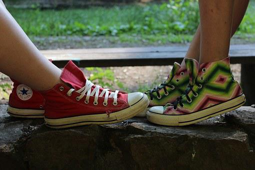 Converse, Sneakers, Two Shoes, Girls, Shoes, Feet