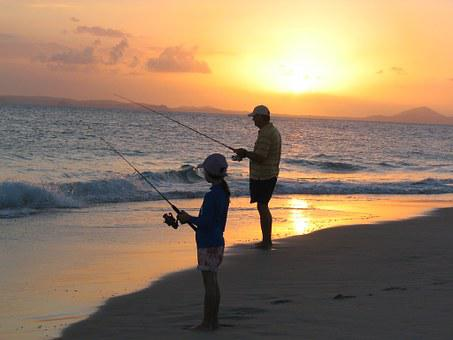 Fishing, Father, Daughter, Sunset, Great Keppel Island
