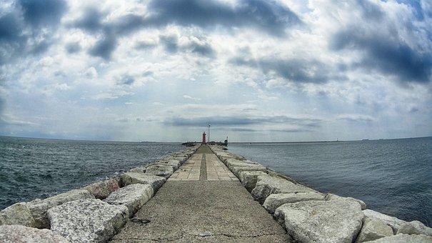 Venice, Lighthouse, Venice Lido, Island, Sea, Italy
