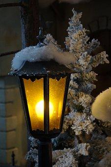 Lantern, Light, Snowy, Artificial Snow, Lighting