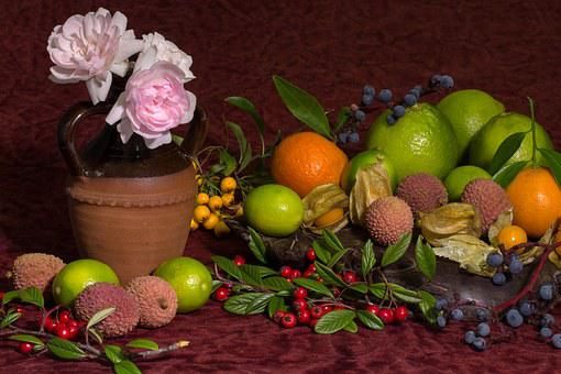Still Life, Flowers, Roses, Lychee, Pink Rose, Oranges