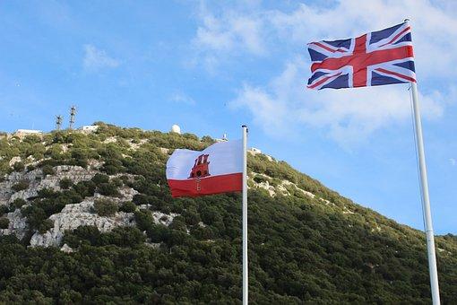 Flags, England, Gibraltar, Rock