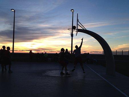 Basketball, Sunset, Silhouette, Sport, Ball, Game, Sky