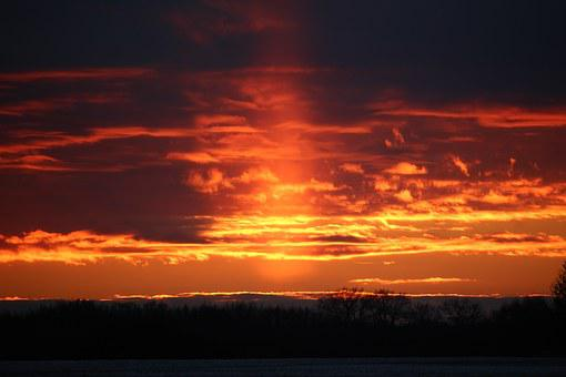 Sunpillar, Weather Phenomenon, Sunset, Winter