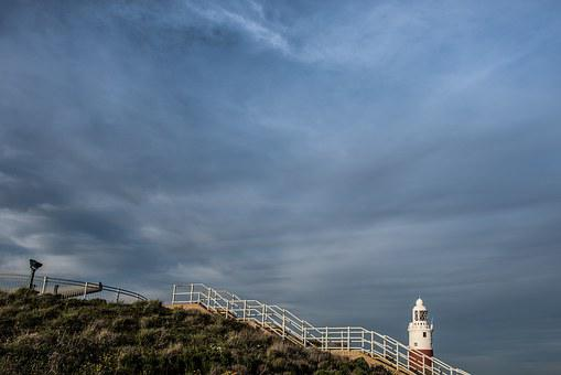 Sunset, Gibraltar, Algeciras, Lighthouse, Sky, Clouds