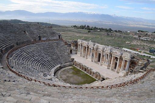 Hierapolis Theatre, Ruin, Turkey, Stone, Pamukkale