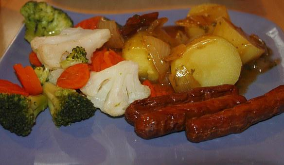 Vegetables, Sausage, Bratwurst, Food, Delicious, Eat