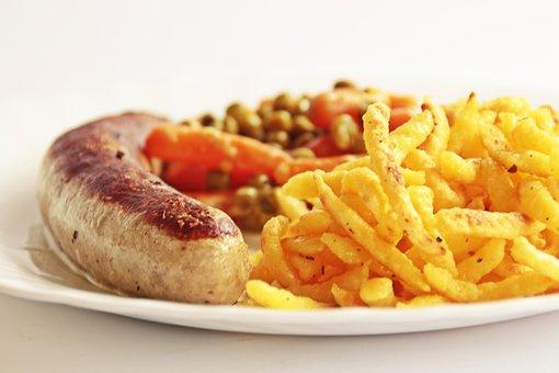 Bratwurst, Vegetables, Noodle, Spätzle, Grill Sausage
