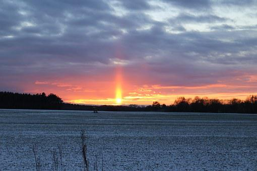 Sunpillar, Weather Phenomenon, Wintry, Sunset, Sunbeam