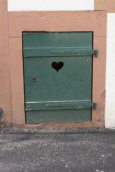 Door, Heart, Wooden Door, Heart In The Wood