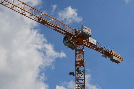 Faucet, Crane, Air, Clouds, Construction