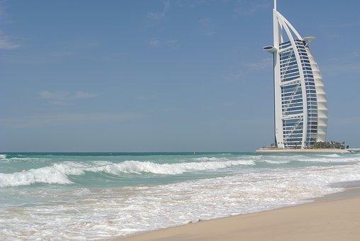 Dubai, Sail, Uae, Burj Al Arab, Hotel, Building, Beach