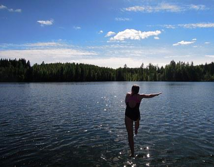Dive In, Jump, Girl, Man, Child, Finnish, Lake