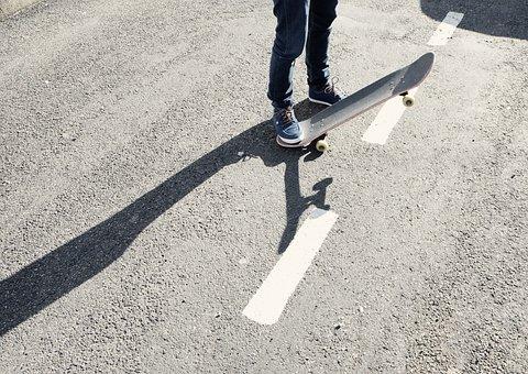 Skateboard, Skater, Pavement, Concrete, Shoes, Jeans