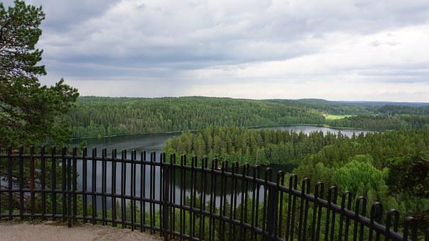 Finnish, Landscape, Lake, Forest, Summer, Aulanko
