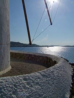 Windmill, Sea, Mykonos, Greece, Greek Island, Cyclades