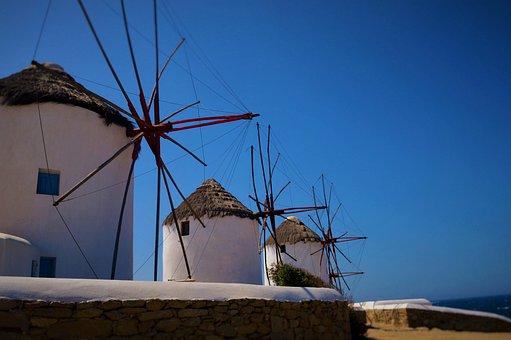Greece, Mykonos, Windmills, Island, Mediterranean