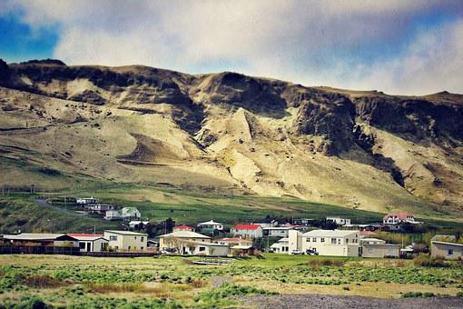 Iceland, Southern Iceland, Landscape, Town, Mountain