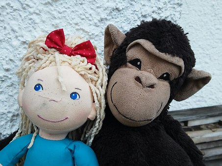 Doll, Stuffed Animal, Monkey, Pair, For Two, Toys