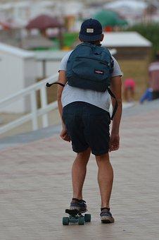 Skater, Skatebord, Backpack, Man, People, Sports