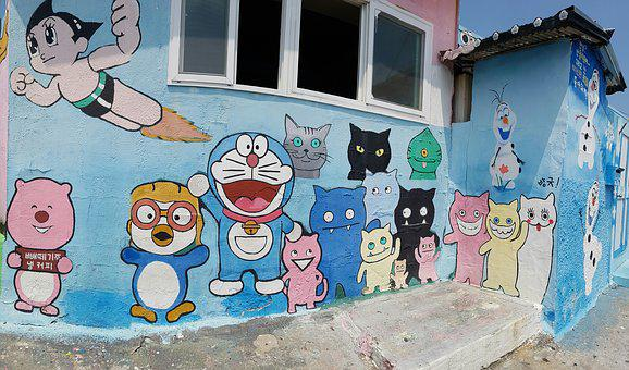 Mural, Graffiti, Street Art, Cat, Figure, Home