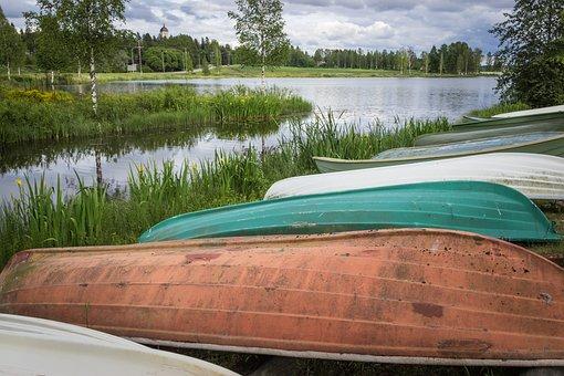 Boat, Kankaanpää, River, Lake, Finnish, Summer