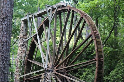 Water Wheel, Watermill, Old, Wooden