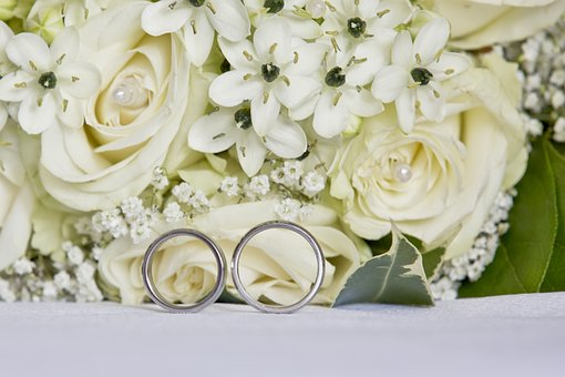 Wedding, Bouquet, Roses, Rings, White Roses, Flowers