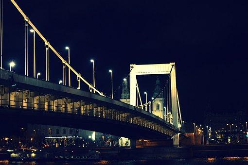 Budapest, Bridge, Elizabeth Bridge, At Night