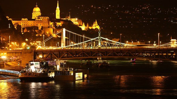 Budapest, At Night, Bridge, Lights, Night Picture