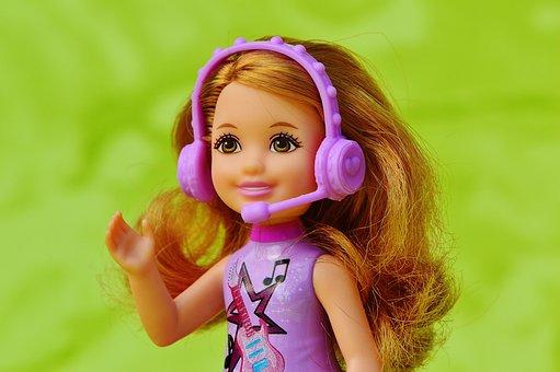 Child, Music, Barbie, Sing, Headphones, Microphone