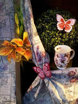 Butterfly, Cup, Curtain, Breakfast, Restaurant, Loop