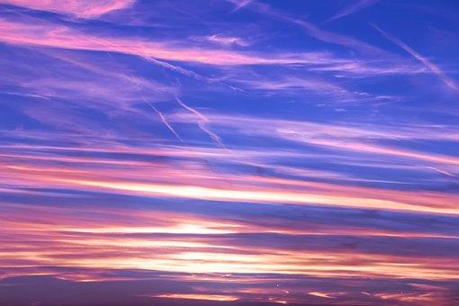 Sky, Sunset, Clouds, Kondenzstreifen, Abendstimmung