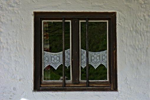 Window, Old, Wooden Windows, Curtains, Grid, Facade