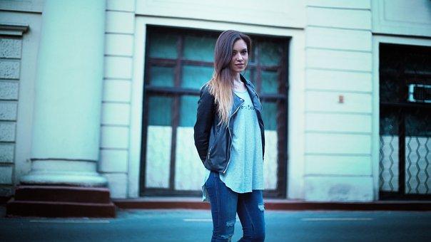 Beautiful, Girl, Street, Style, Girl In Leather Jacket