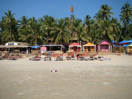 Sand, Goa, Shack, India, Beach, Coastline, Tropic