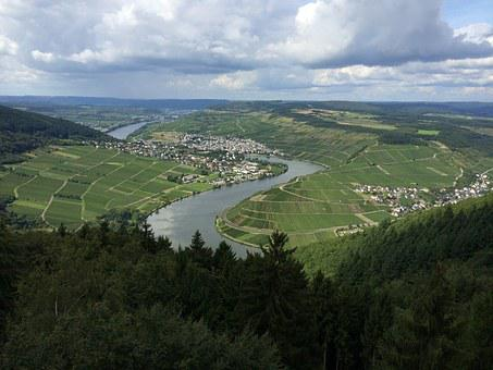 Mosel, River, Bend, Moselle View, Mehring, Trier