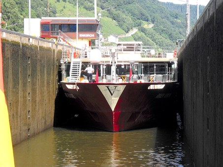 Moselle Sluice, River, Ship, Water, Restaurant Ship