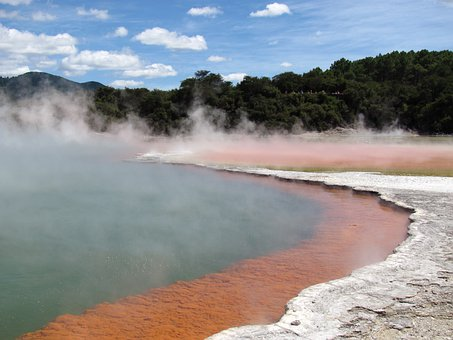 New Zealand, Champagne Lake, Thermal Spring, Orange
