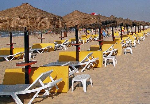 Beach, Portugal, Sand, Umbrellas, Deckchairs, Mattress