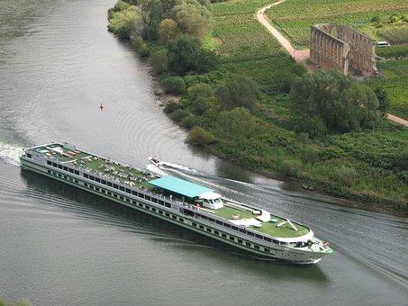 Ship, Monastery Stuben, Mosel, Transport, Boat