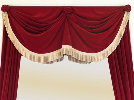 Curtain, Stage, Theater, Red