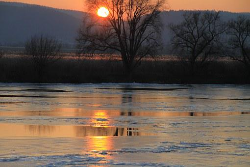 Mosel, Evening, Ice, Sunset, Viewing, Light, Winter