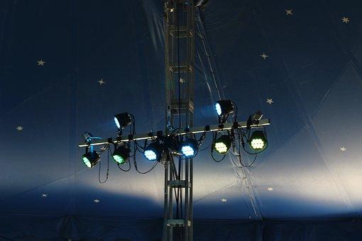 Circus, Circus Tent, Blue, Lighting, Tent