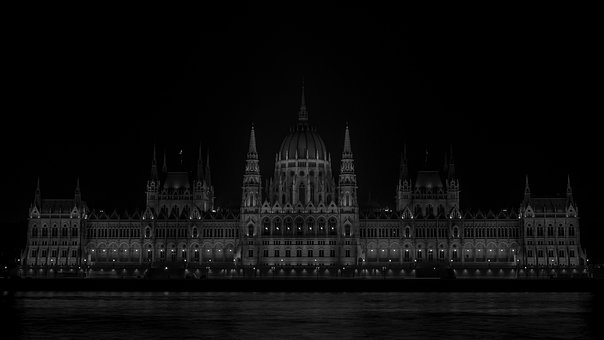 Parliament, Hungary, Wb, Black, At Night, Scape