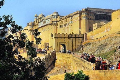 India, Amber, Fort, Caravan, Elephants, Architecture