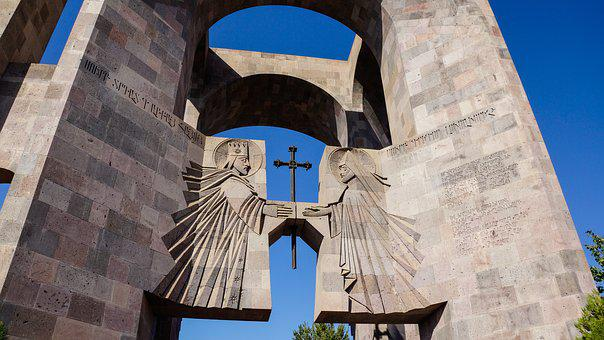 Etchmiadzin, Cathedral, Gate, Entrance, Angel, Cross