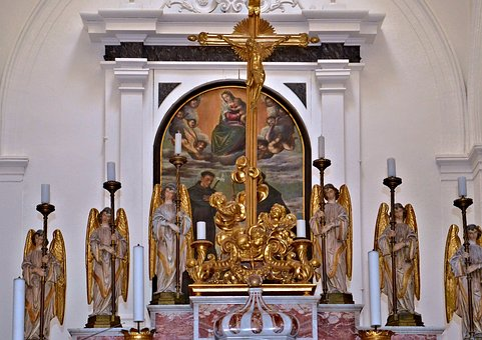 Altar, Angel, Church, Cross, Gilded, Architecture